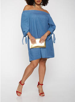 Plus Size Off the Shoulder Chambray Dress - 1930069393880