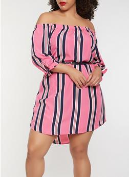 Plus Size Striped Off the Shoulder Dress - 1930069393881
