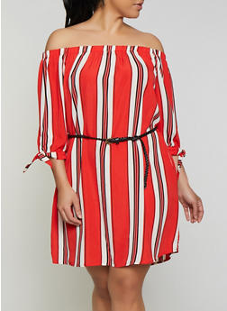 Plus Size Striped Off the Shoulder Dress with Braided Belt - 1930069393882