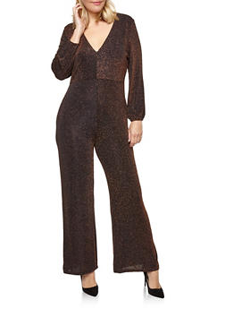 Plus Size Glitter Knit Wide Leg Jumpsuit - 1930069394002