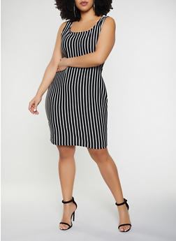Plus Size Vertical Stripe Tank Dress - BLACK/WHITE - 1930069394109