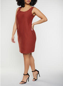Plus Size Vertical Stripe Tank Dress - 1930069394109
