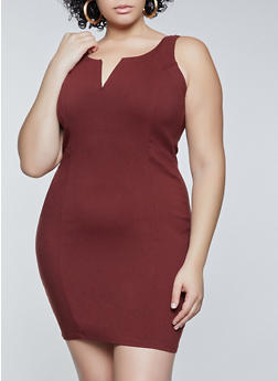 Plus Size Twill Bodycon Dress - 1930069394432