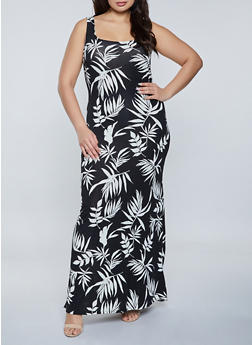 Plus Size Square Neck Leaf Print Maxi Dress - 1930069394713