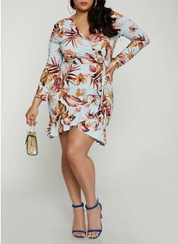 Plus Size Floral Faux Wrap Long Sleeve Dress - 1930069394782