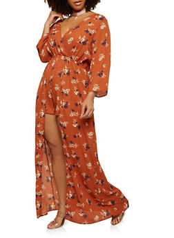 Plus Size Floral Maxi Romper with Sleeves - 1930069396235