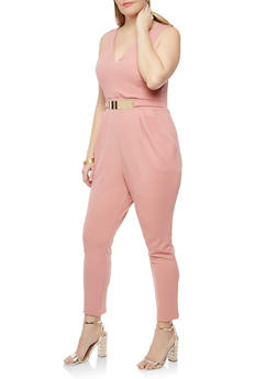 Plus Size Textured Knit Metallic Accent Jumpsuit - 1930069396599