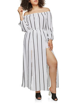 Plus Size Off the Shoulder Maxi Romper - WHITE - 1930069396903