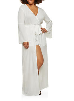 Plus Size Bell Sleeve Maxi Romper - WHITE - 1930069396905