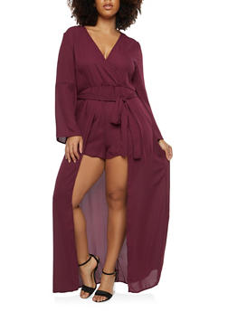 Plus Size Bell Sleeve Maxi Romper - BURGUNDY - 1930069396905