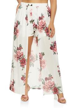 Plus Size Floral Mesh Maxi Shorts - 1930069396921