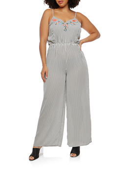 Plus Size Embroidered Striped Palazzo Jumpsuit - 1930069396929