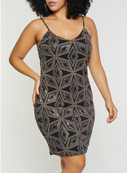 Plus Size Geometric Glitter Print Bodycon Dress - 1930069396934