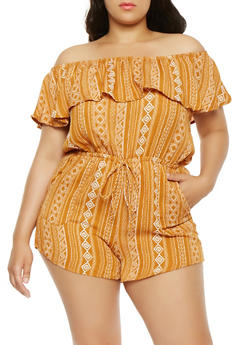 Plus Size Printed Off the Shoulder Romper - 1930069396963