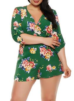 Plus Size Floral Faux Wrap Romper - 1930069396976