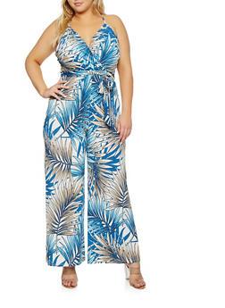 Plus Size Printed Faux Wrap Jumpsuit - 1930069396999