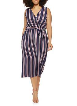 Plus Size Striped Wide Leg Jumpsuit - 1930069397000