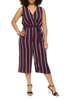 Plus Size Striped Wide Leg Jumpsuit - 1930069397000