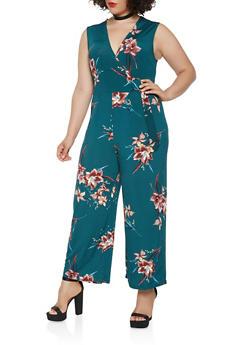 Plus Size Floral Faux Wrap Jumpsuit - 1930069397100