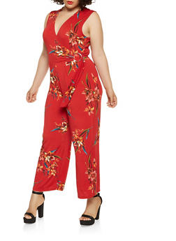 Plus Size Floral Faux Wrap Jumpsuit - 1930069397100