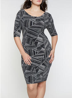 Plus Size Glitter Knit Printed Bodycon Dress - 1930069398935