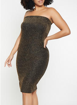 Plus Size Shimmer Knit Tube Dress - 1930072241241