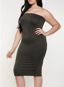 Plus Size Shimmer Striped Tube Dress - 1930072244054
