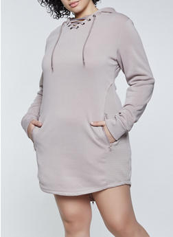 Plus Size Hooded Fleece Moto Sweatshirt Dress - 1930072293333