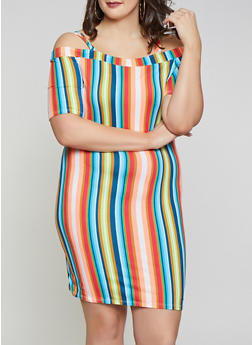 Plus Size Neon Striped Off the Shoulder Dress - 1930075241889