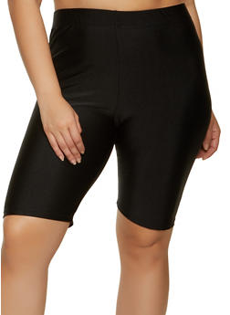 Plus Size Solid Spandex Bike Shorts - 1931062703623