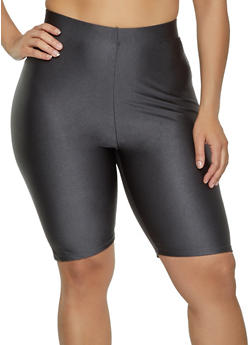Plus Size Solid Spandex Bike Shorts - 1931062703623