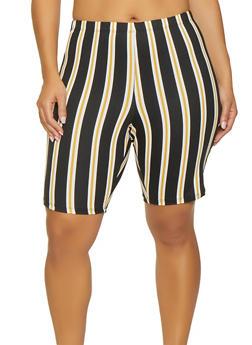 Plus Size Striped Soft Knit Bike Shorts - 1931068511674