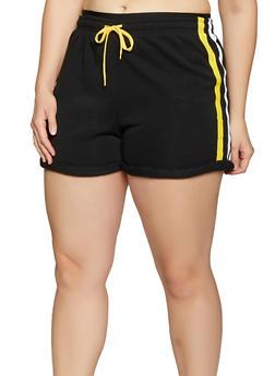 Plus Size Varsity Stripe Sweat Shorts - 1931072299720
