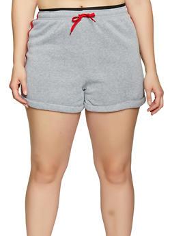 Plus Size Varsity Stripe Sweatshorts - 1931072299720