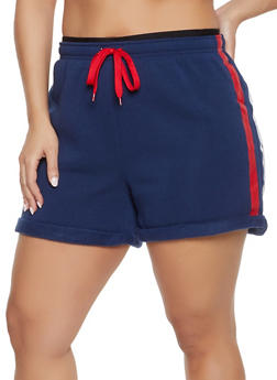 Plus Size Varsity Stripe Sweat Shorts - 1931072299720