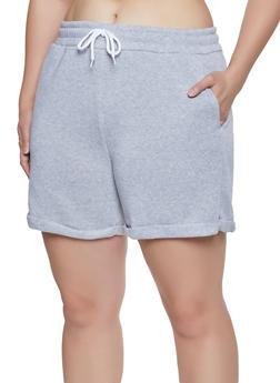 Plus Size Fleece Lined Sweat Shorts - 1931072299820