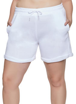 Plus Size Fleece Lined Sweat Shorts - 1931072299820