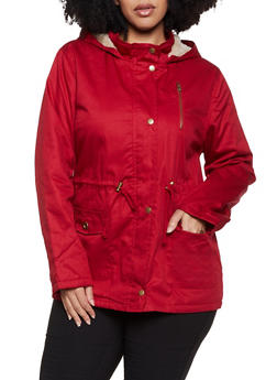 Plus Size Faux Fur Lined Hooded Anorak Jacket - 1932038201085