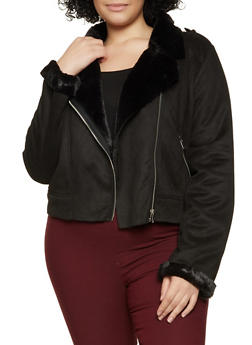 Plus Size Faux Fur Lined Moto Jacket - 1932038204014
