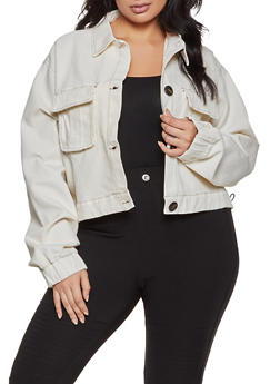 Plus Size Cargo Denim Jacket - 1932038204030