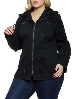 Plus Size Sweatshirt Hooded Anorak Jacket - 1932038204034