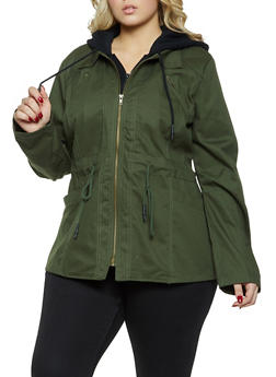 Plus Size Sweatshirt Hooded Anorak Jacket - 1932038204034