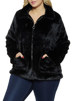 Plus Size Faux Fur Zip Front Jacket - 1932038204045