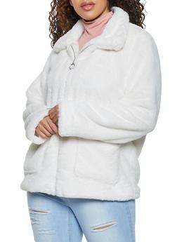 Plus Size Faux Fur Zip Front Jacket - 1932038204045