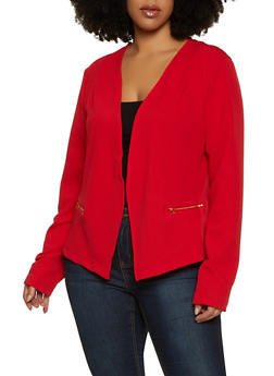 Plus Size Lace Back Blazer - 1932038204064