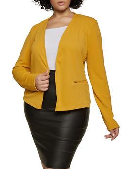Plus Size Lace Back Blazer - 1932038204064