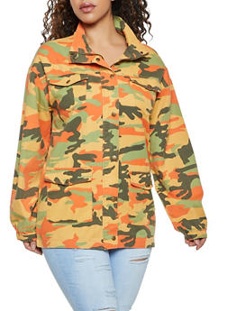 Plus Size Camo Cargo Denim Jacket - 1932038204065