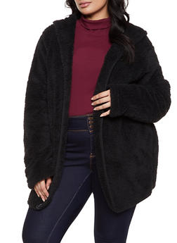 Plus Size Hooded Sherpa Open Front Jacket - 1932054210002