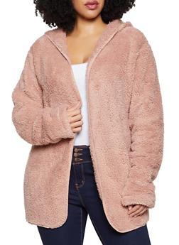 Plus Size Hooded Sherpa Open Front Jacket - 1932054210002