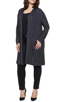 Plus Size Knit Open Front Cardigan - 1932054211005